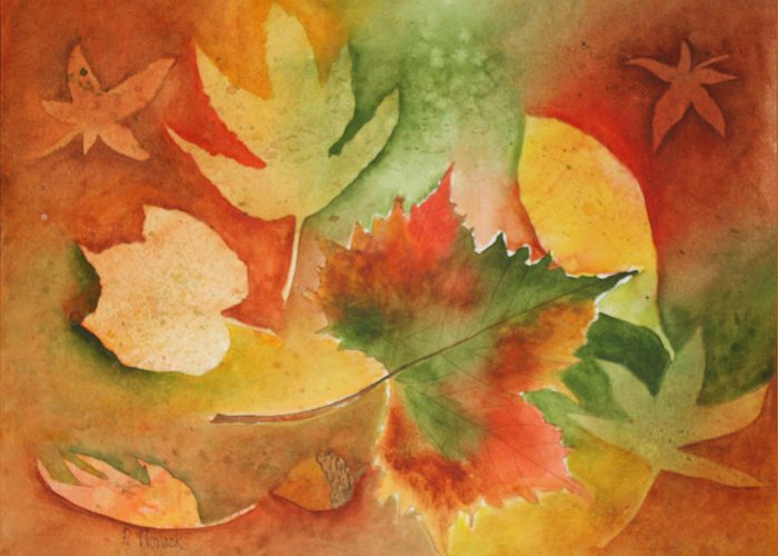 Leaves Greeting Card featuring the painting Leaves III by Patricia Novack