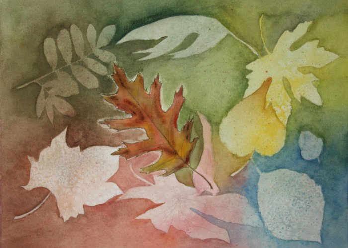 Leaves Greeting Card featuring the painting Leaves IV by Patricia Novack