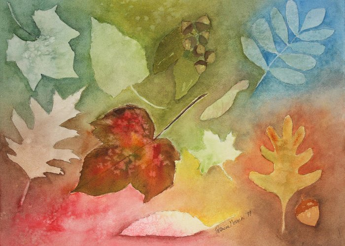 Leaves Greeting Card featuring the painting Leaves V by Patricia Novack