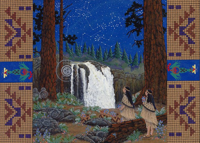 America Greeting Card featuring the painting Legend of Snoqualmie Falls by Chholing Taha