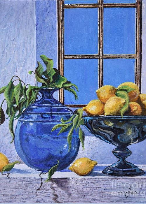 Original Painting Greeting Card featuring the painting Lemons by Sinisa Saratlic