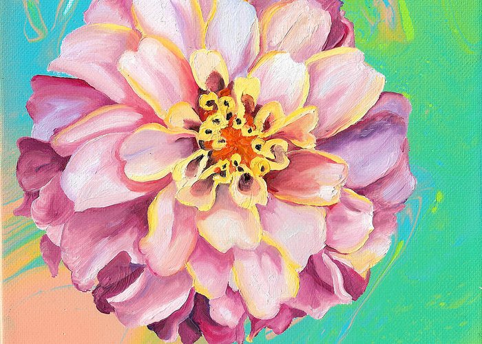 Light Pink Greeting Card featuring the painting Light Pink Zinnia by Brittany Bert Selfe