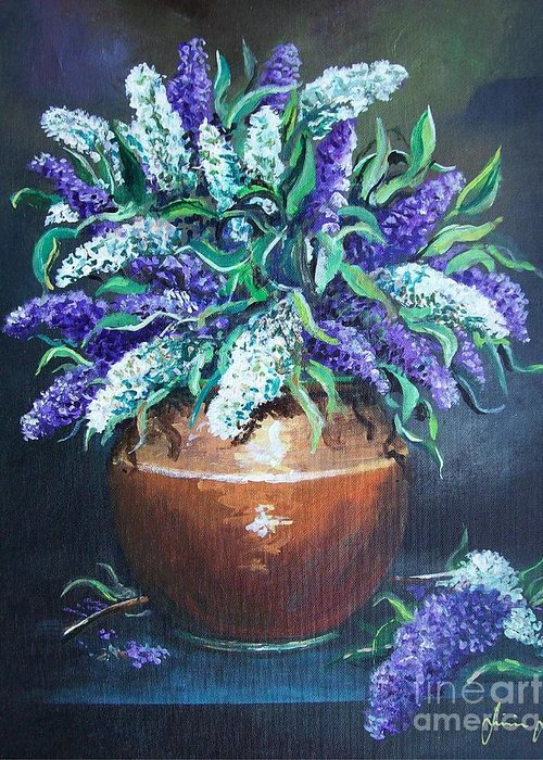 Original Painting Greeting Card featuring the painting Lilac by Sinisa Saratlic