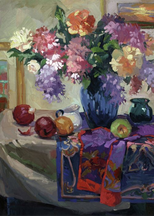 Floral Paintings Greeting Card featuring the painting Lilacs and Peonies by Betty Jean Billups