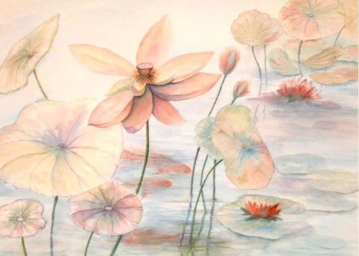 Lily Pads And Lotus Blossoms Greeting Card featuring the painting Lily Pads by Ben Kiger