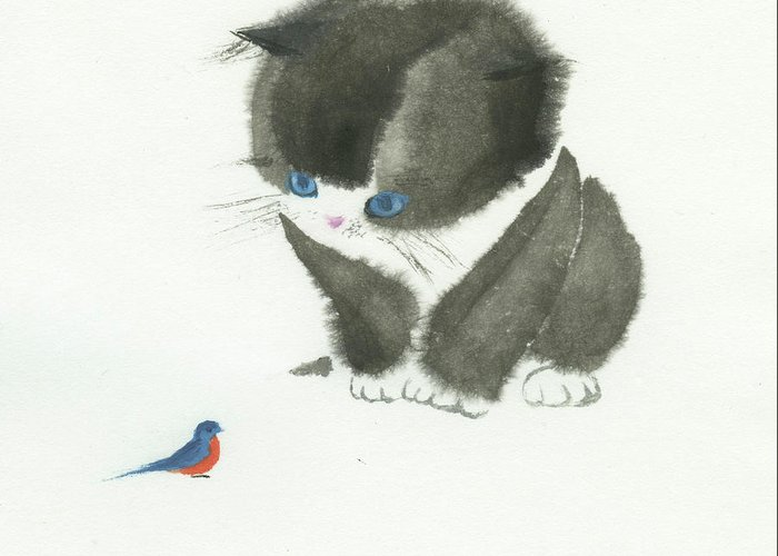 A Curious Little Cat Is Captivated By A Little Bird She Found. This Is A Simple Contemporary Chinese Brush Painting On Rice Paper. Greeting Card featuring the painting Little Cat Found a Bird by Mui-Joo Wee