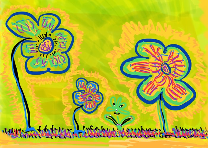Spring Greeting Card featuring the drawing Looking for Spring by Pam Roth O'Mara