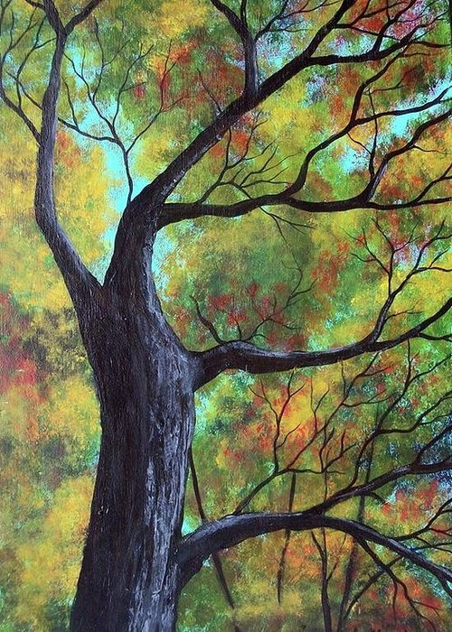 Nature Greeting Card featuring the painting Looking Up In The Trees by Tami Booher