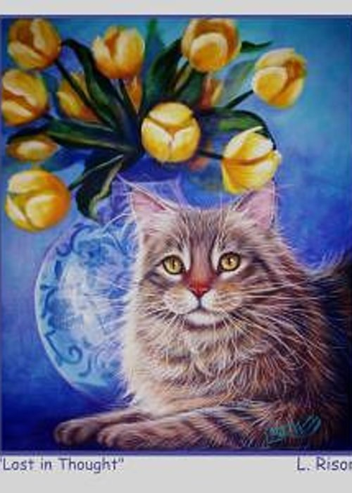 Whimsy Greeting Card featuring the painting Lost In Thought by L Risor
