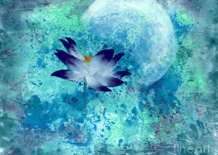 Under The Silver Moon Greeting Card featuring the painting Lotus Moon by Mui-Joo Wee