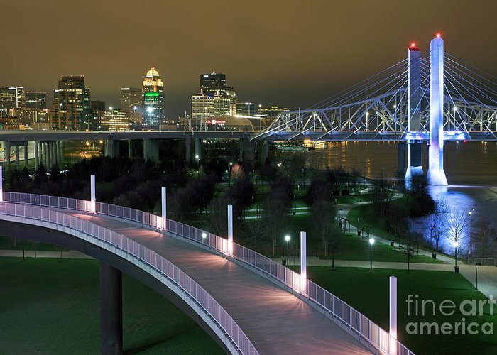 Abraham Lincoln Bridge Greeting Card featuring the photograph Louisville, Kentucky waterfront at night by Bill Cobb