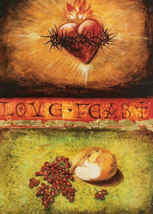 Love Feast Greeting Card featuring the painting Love Feast by Teresa Carter
