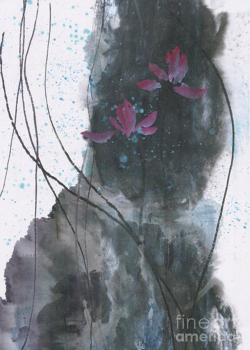 Lotus Emerged Out Of The Sludge Greeting Card featuring the painting Lovely Lotus by Mui-Joo Wee