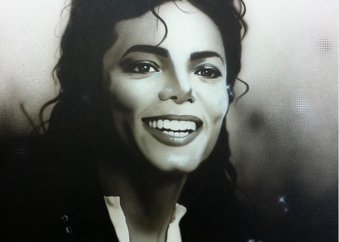 Michael Jackson Greeting Card featuring the painting M. J. by Christian Chapman Art