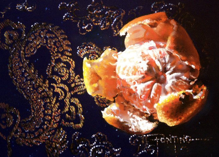 Mandarin Greeting Card featuring the painting Mandarin by Dianna Ponting
