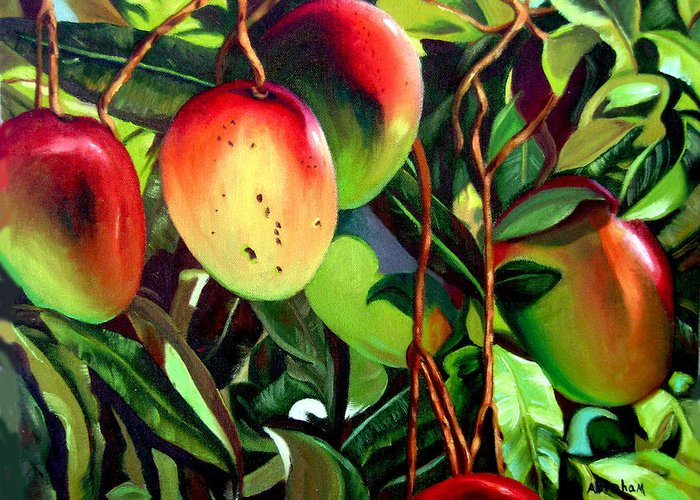 Tree Greeting Card featuring the painting Mangos by Jose Manuel Abraham