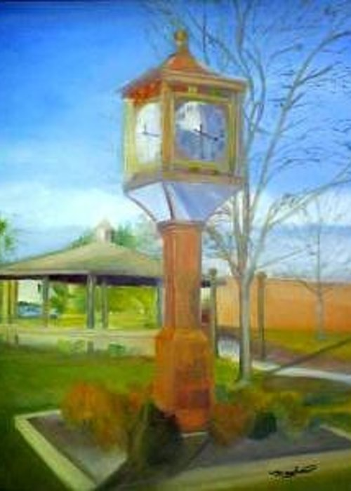 Maple Shade Greeting Card featuring the painting Maple Shade Clock by Sheila Mashaw