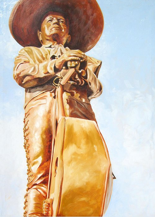 Mariachi Greeting Card featuring the painting Mariachi by Laura Pierre-Louis
