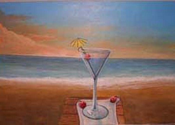 Rick Huotari Greeting Card featuring the painting Martini In Door County by Rick Huotari