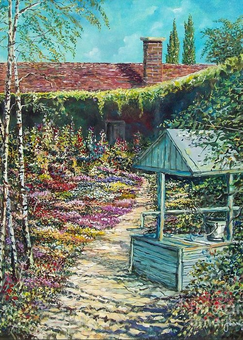 Garden Greeting Card featuring the painting Mary's Garden by Sinisa Saratlic