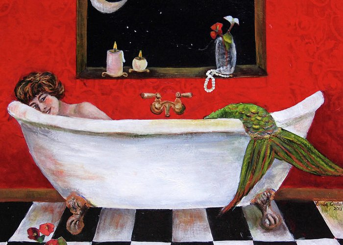 Mermaid Greeting Card featuring the painting Mermaid in Bathtub Taking a Moonlight Soak by Linda Queally by Linda Queally