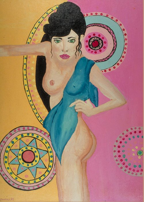 Nude Greeting Card featuring the painting Mexican Nights -Too by J Andrel