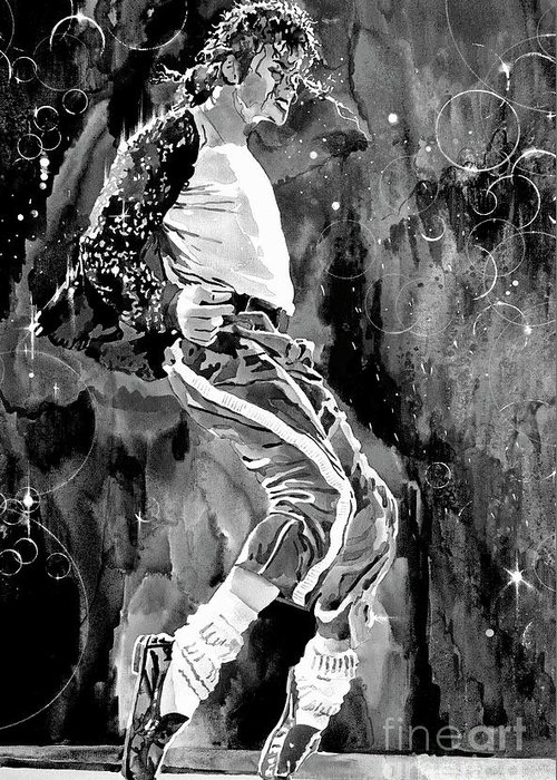 Michael Jackson Greeting Card featuring the painting Michael Jackson Step by David Lloyd Glover