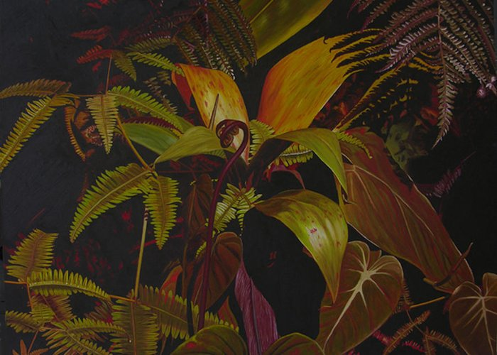 Plant Greeting Card featuring the painting Midnight in the garden by Thu Nguyen