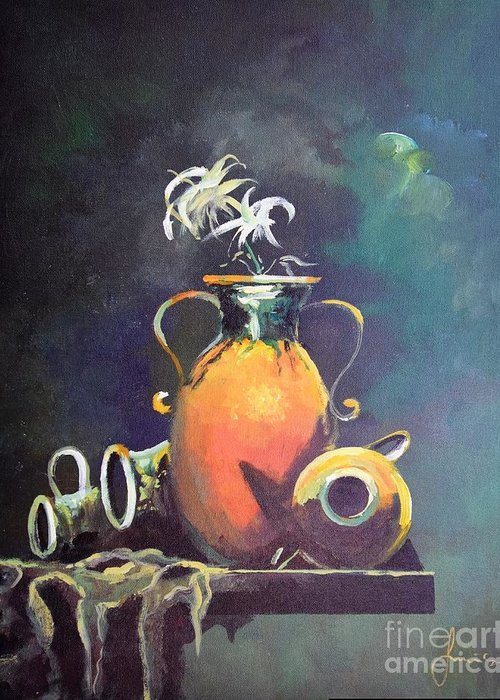 Still Life Greeting Card featuring the painting Midnight Moon by Sinisa Saratlic