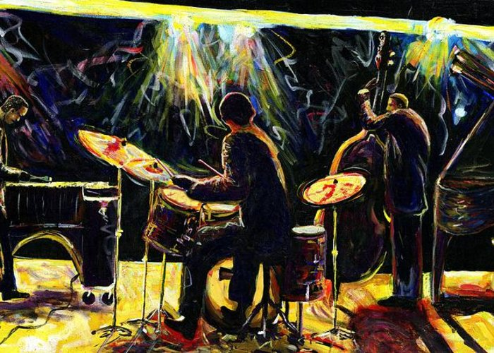 Everett Spruill Greeting Card featuring the painting Modern Jazz Quartet take2 by Everett Spruill