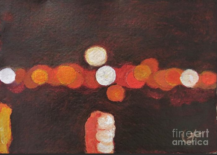 Abstract Greeting Card featuring the painting Moon over Portimao by Caroline Cunningham