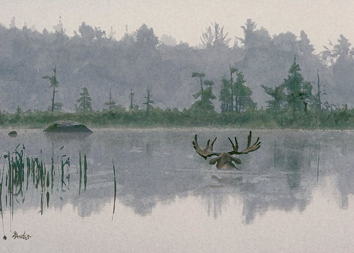 Moose Greeting Card featuring the painting Moose Crossing by Brent Ander