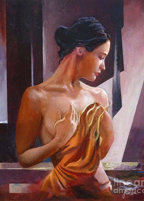 Female Figure Greeting Card featuring the painting Morning Beauty by Sinisa Saratlic