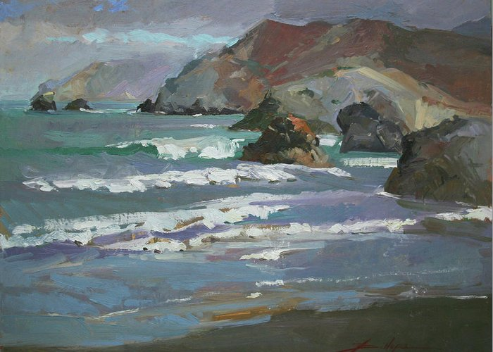 Seascape Greeting Card featuring the painting Morning Fog Shark Harbor - Catalina Island by Betty Jean Billups