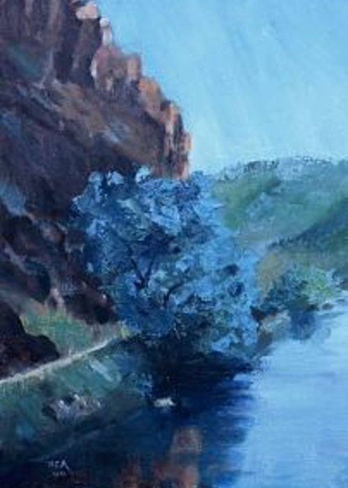 Painted On The Missouri River At Wolf Creek Greeting Card featuring the painting Morning Light On The Missouri by Bryan Alexander