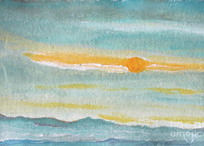 Sky Greeting Card featuring the painting Morning Sky in Winter by Caroline Cunningham