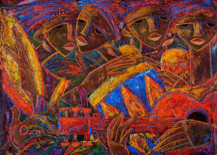 Puerto Rico Greeting Card featuring the painting Musas Del Caribe by Oscar Ortiz