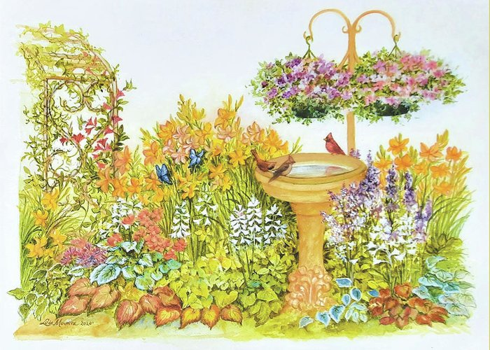 Garden Greeting Card featuring the painting My Summer Garden by Lois Mountz