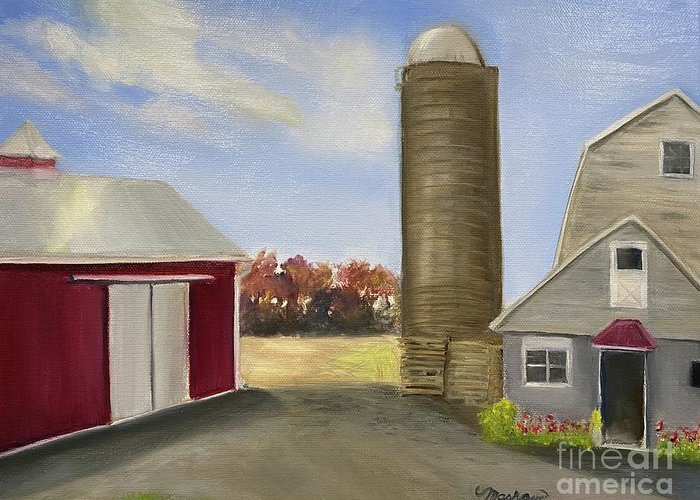 Plein Aire Greeting Card featuring the painting Nancys Farm by Sheila Mashaw