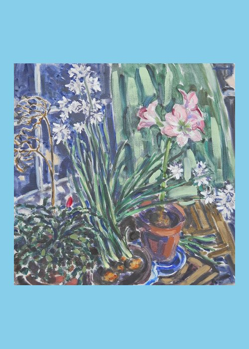 Narcissus Greeting Card featuring the painting Narcissus, Amaryllis by Thomas Dans