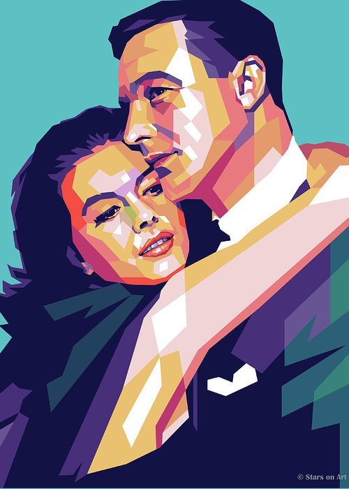 Natalie Greeting Card featuring the digital art Natalie Wood And Gene Kelly by Stars on Art