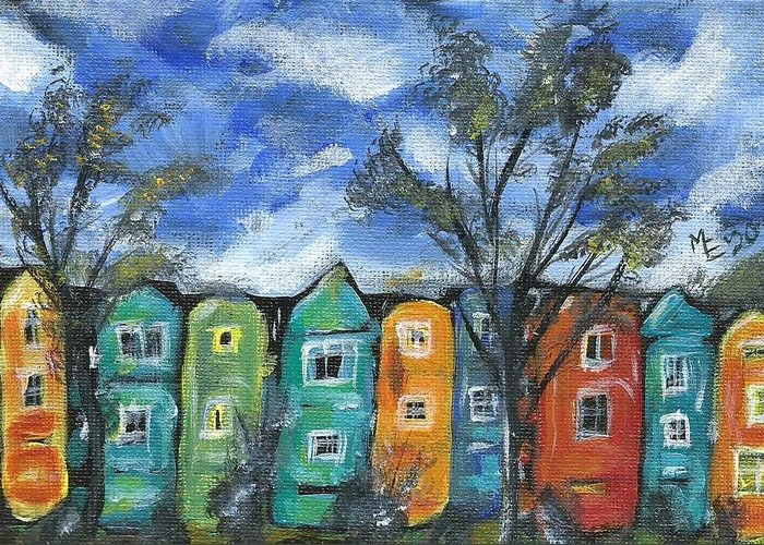 Neighborhood Painting Greeting Card featuring the painting Neighborhood by Monica Resinger