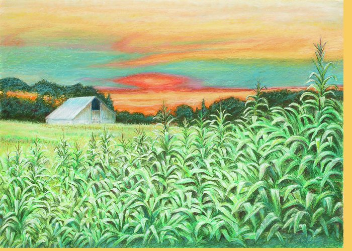 Landscape Greeting Card featuring the painting Neola Corn by Arthur Fix