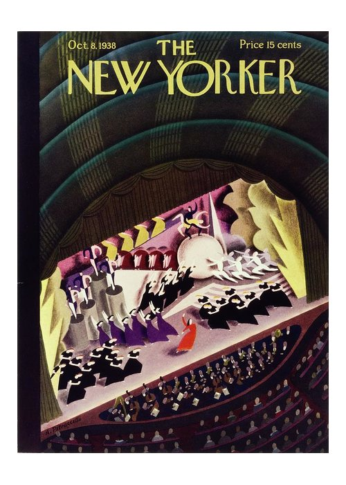 Illustration Greeting Card featuring the painting New Yorker October 8, 1938 by Antonio Petruccelli
