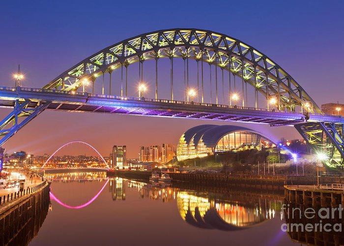 Newcastle Greeting Card featuring the photograph Newcastle Upon Tyne Skyline, Tyne Bridge, England by Neale And Judith Clark