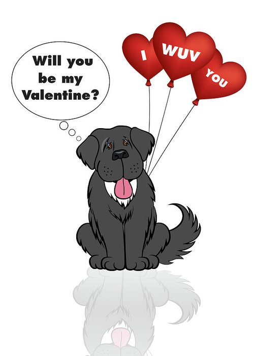 Newf Greeting Card featuring the digital art Newfie Valentine Card by Christine Mullis