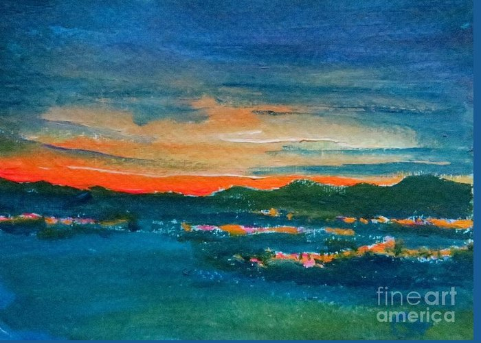 Landscape Greeting Card featuring the painting Night Sky Over Bunclody by Caroline Cunningham