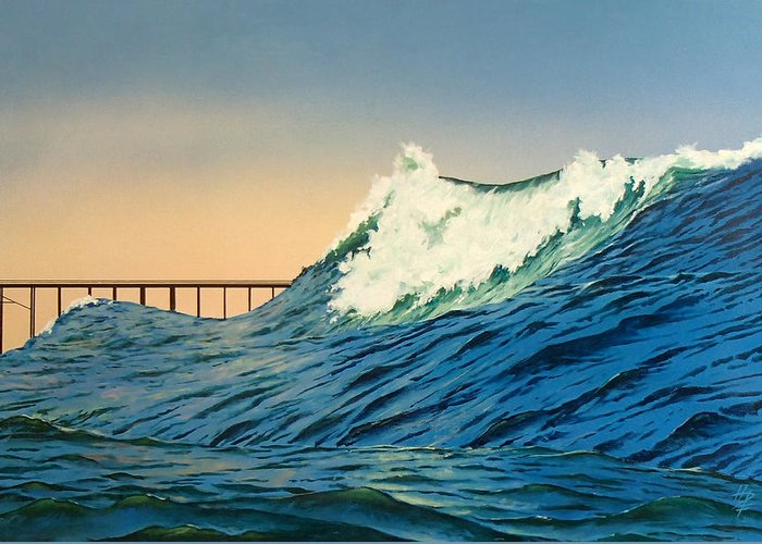 Ocean Greeting Card featuring the painting North Side by Philip Fleischer
