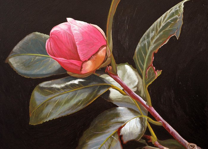 Rose Greeting Card featuring the painting November Rose by Thu Nguyen