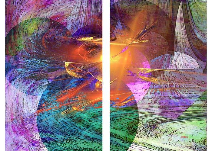 Ocean Fire Greeting Card featuring the digital art Ocean Fire by John Robert Beck